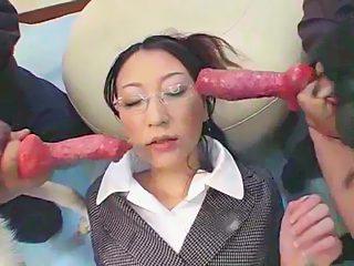 Japanese girl sucks 2 dogs dick