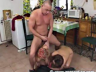 MFF grop fuck huge black dog